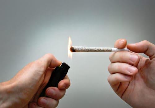 Burning marijuana joint