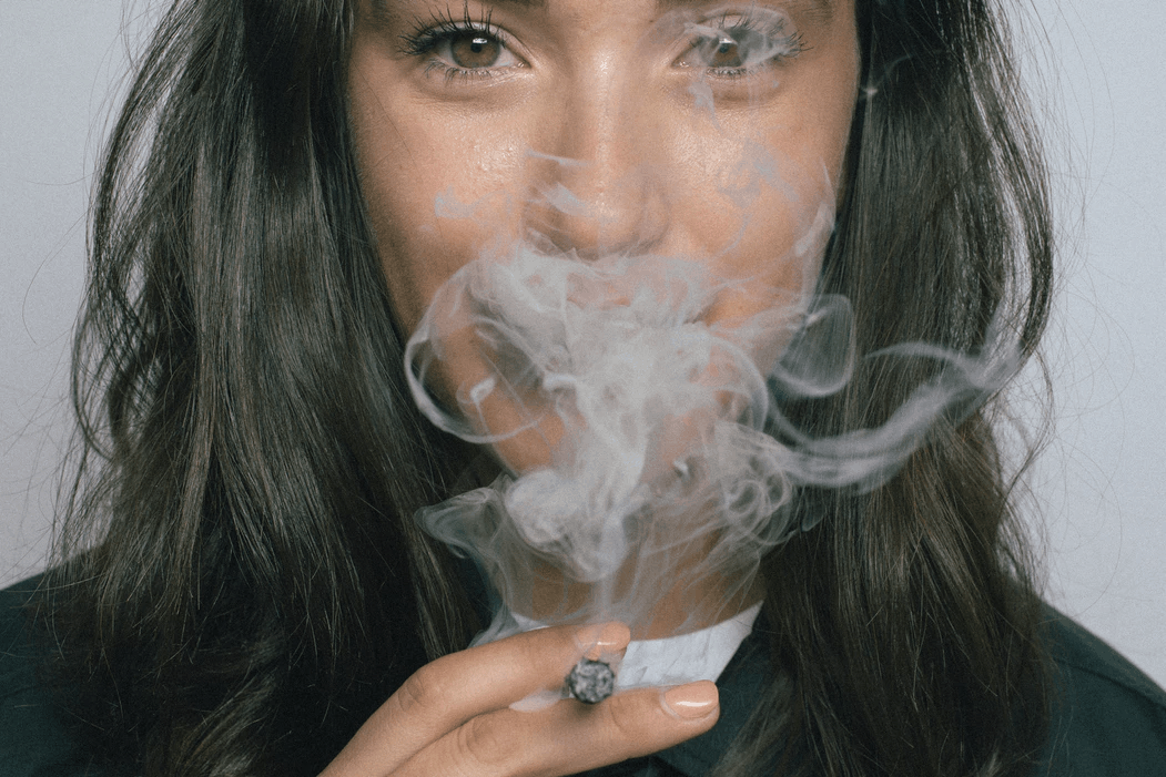 Woman smoking marijuana